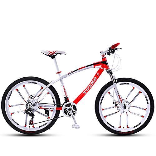Bicicleta para NiñOs Bicicleta De MontañA, 24 Pulgadas, Bicicleta para Adultos, Bicicleta para NiñOs Y NiñAs Marco De Acero De Alto Carbono Velocidad Variable De AbsorcióN De Impactos(Red)