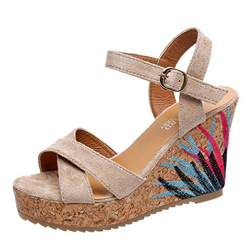 SHE.White-sandalen damen sommer SHE.White Suede Sandals Pumps Platform Shoes Wedge Heel Sandals Peep Toe Comfortable Shoes beige 35