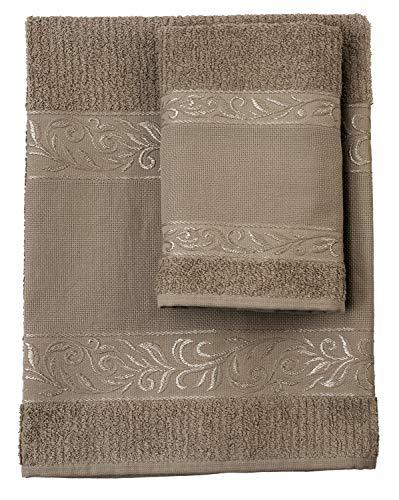 Filet – Juego de toallas de mano con ospite – 100% rizo de algodón – Color liso – con inserto de tela Aida para bordar – Cuerda