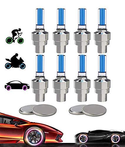 Yinch 8 Stück LED Ventilkappen Fahrrad Reifen Beleuchtung Speichenlicht Fahrrad Ventilschaftkappe Licht Autozubehör für Fahrrad, Auto, Motorrad oder LKW mit 10 Zusätzlichen Batterien (Blau)