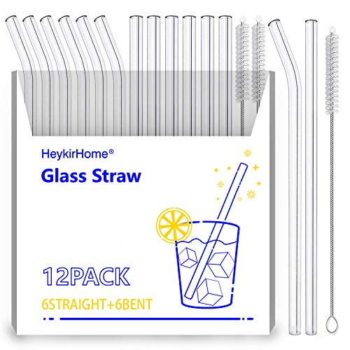 HeykirHome 12-Pack Reusable Glass Straw,Size 8''x10 MM,Including 6 Straight and 6 Bent with 2 Cleaning Brush- Perfect For Smoothies, Tea, Juice
