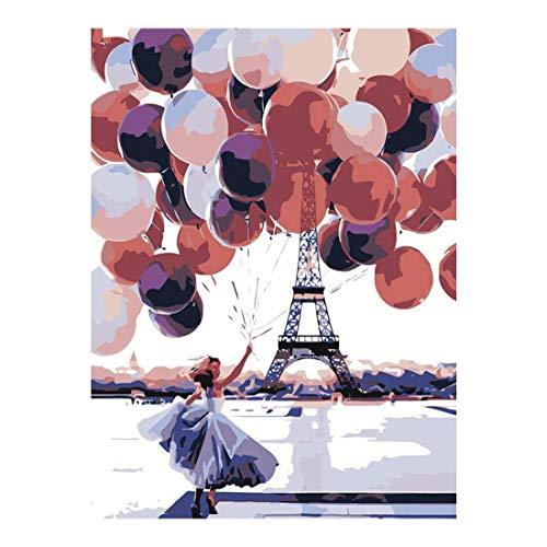 Pintar por números para Adultos Paisaje de Globos de París - Pintura para Pintar por números con Pinceles y Colores Brillantes Cuadro de Lienzo con numeros pre Dibujado fácil de Pintar