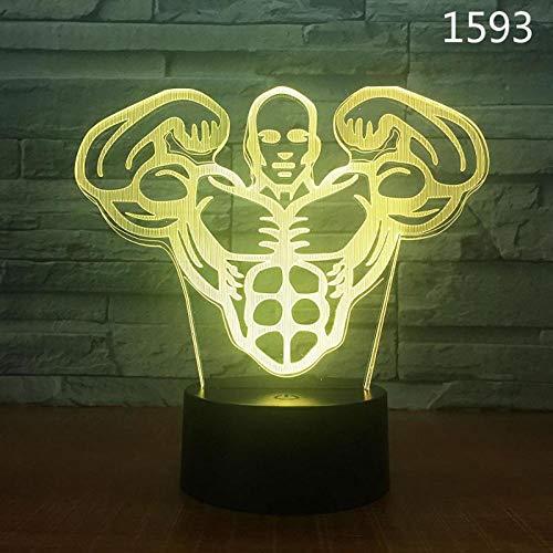 Led Nachtlicht Tischlampe Muskelmann (Berührungsschalter)3D Led Optisches Dia-Licht, Lsmy 7 Farbe Touch Kunst Skulptur Lampe Mit Usb-Kabel Schlafzimmer Schreibtisch Dekoration Lampe Kind Erwachsene