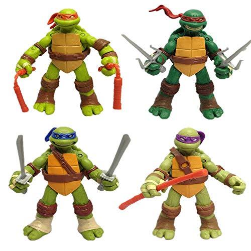 LU-DOLL (kaoyujia. es Falso) 4pcs Tortugas Ninja Muñecas Bolso Transparente Modelo Juguetes Animado Entorno 12CM