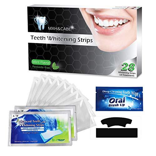 White Stripes,Aktivkohle White Stripes,weiße zähne bleaching,Zahnaufhellung Strips mit advanced no-slip technology,28 PCS Professionelles Zahnaufhellung Streifen und 6PCS Zahn abwischen.