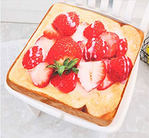 SHANGZHIQIN Almohada de rebanadas de Pan de Tostadas de Frutas de simulación, Juguete de Felpa para Gatos, Juguetes de Peluche de algodón Divertidos para niños 40 cm (Fresa)