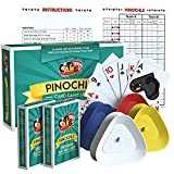 Pinochle Playing Cards Gift Set with Double Pinochle Card Decks, Four Card Holders, Pinnocle Score Pad and Game Instructions by All7s