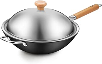 DLT Cast Iron Wok with Round Bottom, Pre-Seasoned Wok with Stainless Steel Lid for Asian Stir Fry and Sautees, Nonstick St...
