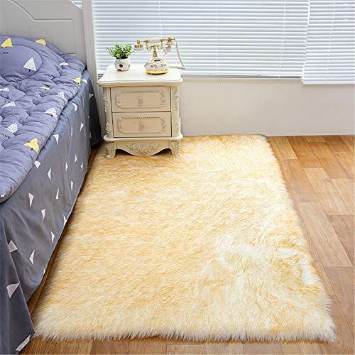 XDKS Alfombra de piel sintética suave y esponjosa, redonda, de piel de oveja sintética, alfombra de piel de cordero, alfombra de imitación de piel de cordero (60 x 150 cm, color blanco y amarillo)