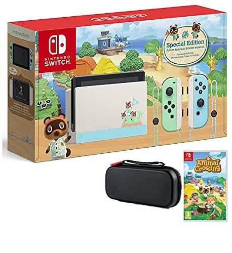 Nintendo Paquete de interruptor con juego y estuche: Nintendo Switch Animal Crossing New Horizons Edition consola de 32 GB, juego de cruces de animales nuevos horizontes, estuche de viaje Tigology