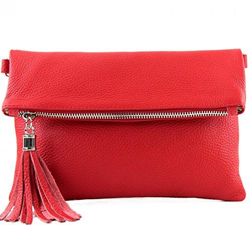 modamoda de - ital bolso de embrague/hombro de cuero pequeña T167, Color:rojo