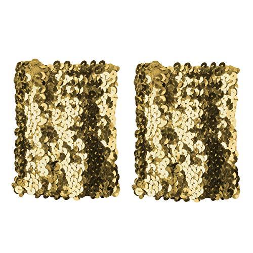 Agoky Damen Pailletten Handschuhe Handstulpen Gefüttert Glänzende Armbänder Arm Hand Manschetten Straps Gold One Size