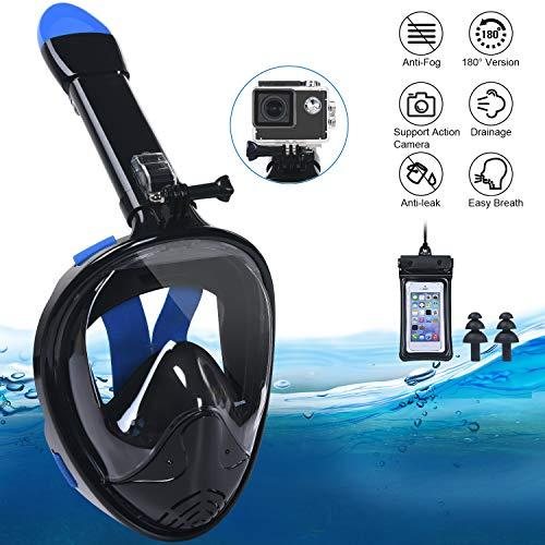 flintronic Masque de Plongée, Snorkel Masque Intégral Complet Antibuée et Anti-Fuite Masque Snorkeling pour Plein Visage 180° avec la Support pour Caméra de Sport (avec Sac Étanche pour Téléphone)
