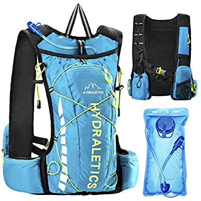 Running Hydration Vest for Men or Women, Lightweight Non-Chafing Hydration Pack Backpack, Ultra-Functional Design, 5L Distributed Storage, 2L Water Bladder with High-Flow Bite Valve (BPA Free), Blue