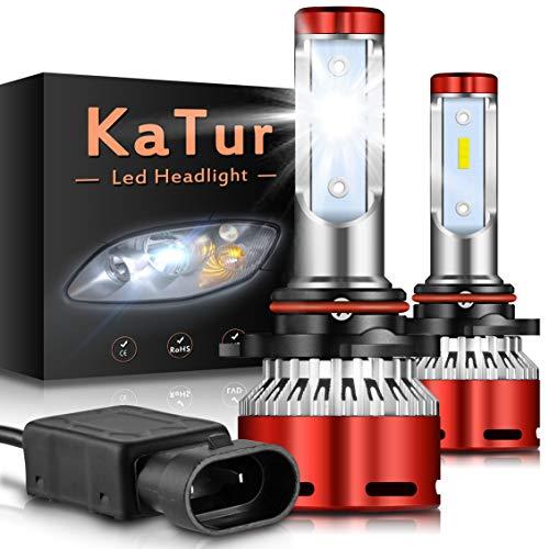 KATUR 9012 HIR2 Bombillas led Faros Chips CSP Mini Design Super Bright 12000LM Kit de conversión de Faros a Prueba de Agua 60W 6500K Xenón Blanco-2 años de garantía