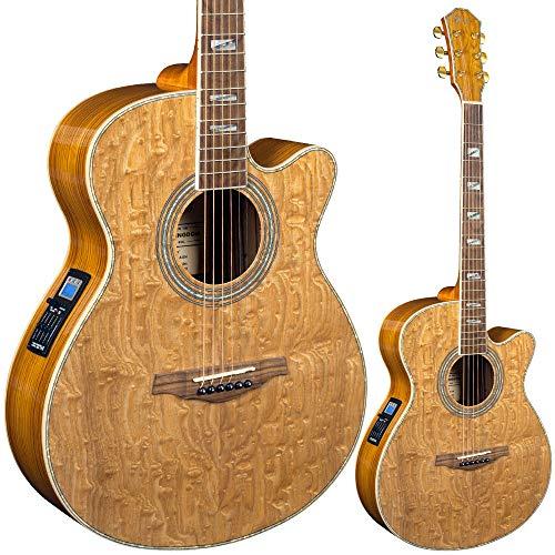 Lindo LDG-B02CNL Master of Tone Series Piebald Akustikgitarre mit Eschendecke, Abalone-Inlay und D Addario EXP Saiten, inkl. weichem Tragekoffer