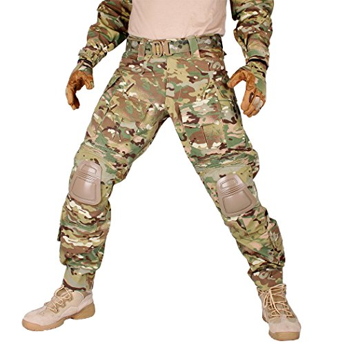IDOGEAR G3 Combat Pants with Knee Pads Multicam Black Airsoft Hunting Army Military Camouflage Clothing (A: Multicam, W36''/L33'')