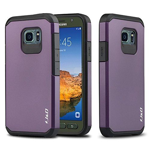 J&D Case Compatible for Galaxy S7 Active Case, Heavy Duty [Dual Layer] Hybrid Shock Proof Protective Rugged Bumper Case for Samsung Galaxy S7 Active Case - [NOT Compatible with Galaxy S7] - Purple