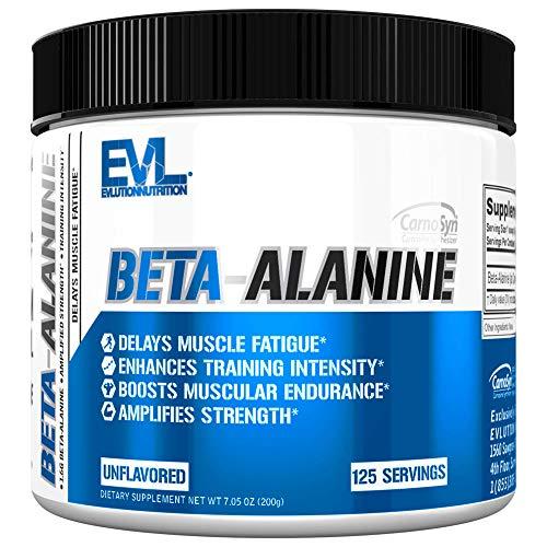 Evlution Nutrition Beta-Alanine, 1.6g of Beta Alanine in Each Serving, Unflavored Powder (125 Servings)