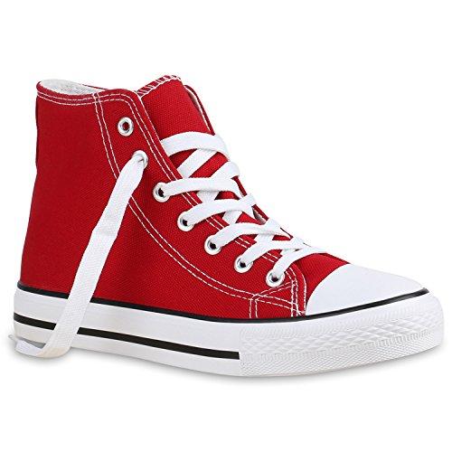 stiefelparadies Damen Schuhe High Top Sneakers Sportschuhe Stoffschuhe Freizeit Schuhe 135084 Rot Avelar 42 Flandell