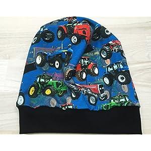 Beanie Mütze Trecker blau Digitaldruck, auch gefüttert