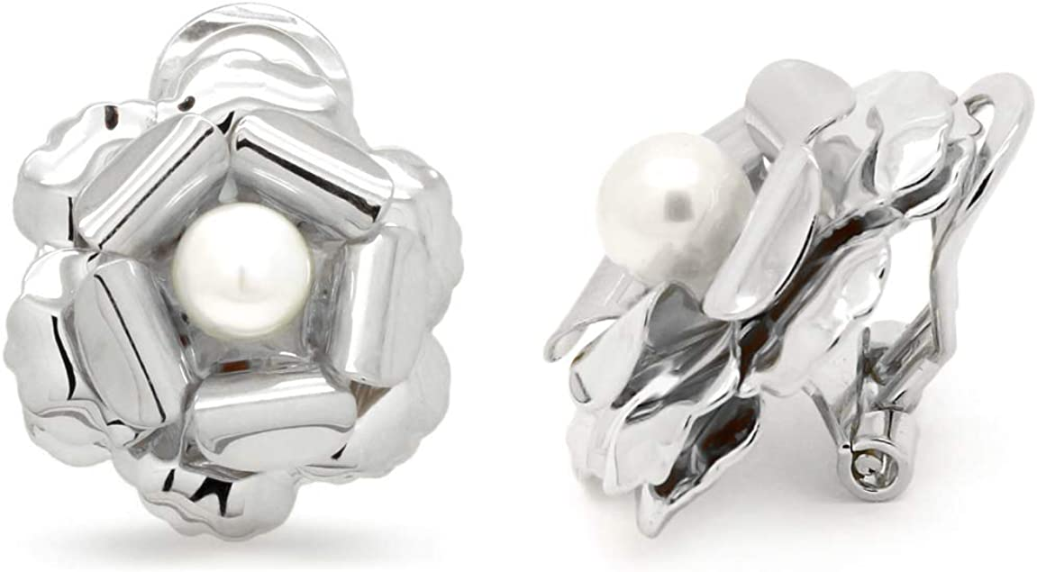 Simulated Pearl Clip on Earrings Flower Rhodium Plated Women Fashion