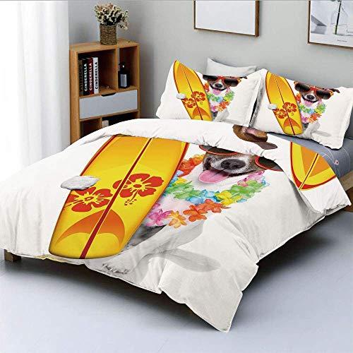 Juego de funda nórdica, cachorro surfista con gafas de sol y flores de hibisco tropical con estampado de perro hawaiano Juego de cama decorativo de 3 piezas con 2 fundas de almohada, multicolor, el me