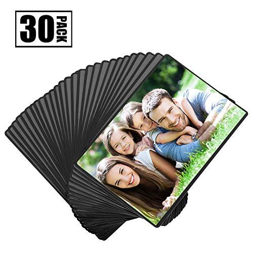Magnetische Fototaschen, Magiclfy 30 Stück Magnet Bilderrahmen Fotorahmen Selbst Gestalten zum Aufhängen für Fotos Postkarten von 10 x 15 cm Bildertaschen für Kühlschrank, Schwarz