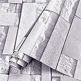 Kitchen-dream Carta da Parati Mattoni, 0,45x10m PVC grigio bianco impermeabile adesivi murali modello mattone, per bagno cucina fai da te casa arte camera decorare