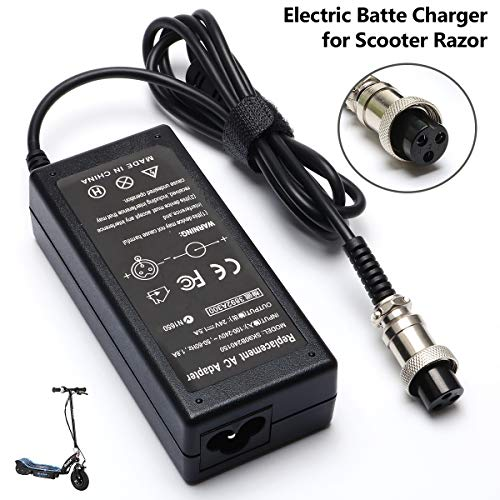 MX350 E175 36W Electric Scooter Battery Charger for Razor E100 E200 E200S E125 E225 E300 E325 E350 E400 E150 E500 PR20 MX400 ZR350 E500S, Pocket Mod, Sports Mod and Dirt Quad 3-Prong Inline-24V 1.5A