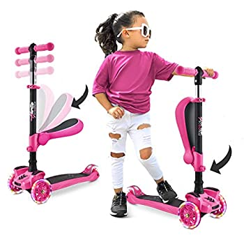 Hurtle 3-Wheeled Scooter for Kids - Wheel LED Lights Adjustable Lean-to-Steer Handlebar and Foldable Seat - Sit or Stand Ride with Brake for Boys and Girls Ages 1-14 Years Old - Pink