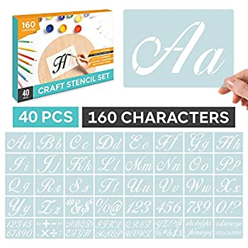 Letter Stencils for Painting on Wood - Alphabet Stencils Calligraphy Font Upper and Lowercase Cursive Stencil Letters Templates Reusable Plastic Art DIY Craft with Numbers Signs Set of 40 Pieces Kit