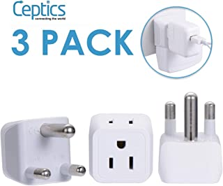 Ceptics South Africa, Namibia Travel Adapter Plug with Dual Usa Input - Type M - Ultra Compact - Safe Grounded Perfect for Cell Phones, Laptops, Camera Chargers and More 3 Pack (CT-10L)