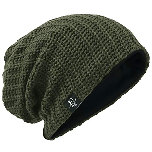 Hombre Gorro de Punto Slouch Beanie Knit Invierno Verano Hat (Acanalado Verde)