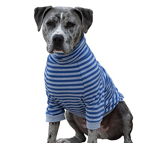 Tooth & Honey Large Dog Clothing/Stripe Shirt/Pullover/Full Belly Coverage/Big Dogs/Pitbull Shirt/Blue and Grey/Dog Allergy Shirt/Surgery Recovery Shirt