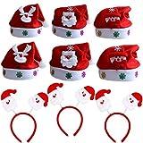 Lanteck 9 Pack Cappello Babbo Natale Cappellino a Taglia Unica per Adulti, Festa di Natale Natale Fasce