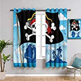 Xlcsomf Cortina de aislamiento pirata para todas las estaciones, cortinas de 99 cm de largo, signo de peligro con cráneo, protección de privacidad de 54 x 39 pulgadas