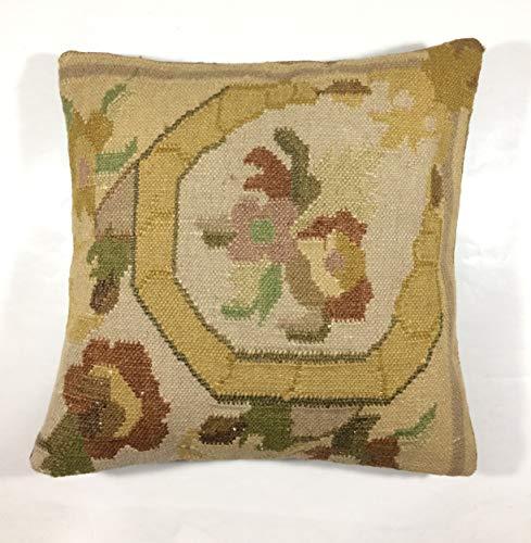 Kelim Kissen 40x40 cm Kissenbezug Orientalisch Handgefertigt Teppiche Kilim Kissenhülle aus Wolle Oushak Uschak Türkisch Handarbeit code 163