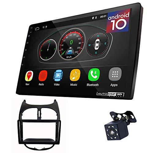 UGAR EX10 9' Android 10.0 DSP Radio de Coche mit 11-029S Panel Dash Instalación Fascia Kit Compatible para Peugeot (206) 1998-2007
