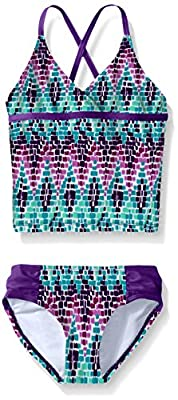 Kanu Surf Girls' Big Beach Sport 2-Piece Tankini Swimsuit, Candy Purple, 12