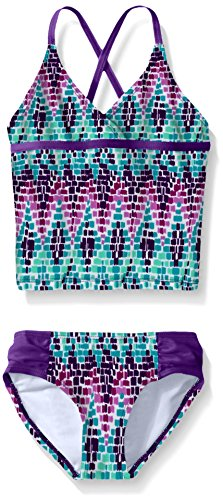 Kanu Surf Girls' Big Beach Sport 2-Piece Tankini Swimsuit, Candy Purple, 10