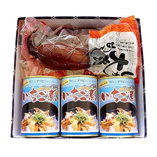 シーフードギフト/八戸グルメ贈答Mセット (いちご煮缶詰3個+いか大漁めし1尾2個・化粧箱包装済)