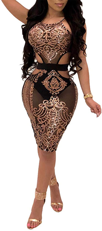 ECHOINE Women's Sexy Mesh See Through Bodycon Dress Sequin Sleeveless Cocktail Party Clubwear