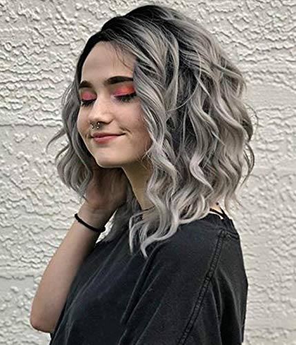 GNIMEGIL Ombre Grey Curly Wigs Delicate Short Bob Hairstyle Heat Resistant Synthetic Fiber Wig Gradation Color Glueless Full Wigs For Women Girls Party Prom Halloween Wig