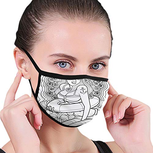 Reusable half bandanas M-shaped nose clip ,Tattoo Coloring Book Style Sexy Pin up Girl with Hibiscus Flowers Curls and Stars,breathable sports mouth cover
