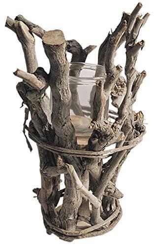 CHICCIE Kerzenhalter Aus Holz Mit Glaseinsatz 37cm Natur Braun Rund - AST Laterne Teelichthalter Windlicht Holzlaterne