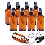 8 Piezas 30ml Botella de Spray de Vidrio ámbar, Botella de Spray de Vidrio Marrón Vacía, Conjunto de Botella de Spray Reutilizable con Bombas de Spray, Adecuado para Aceites Esenciales, Perfumes
