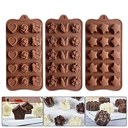 3 PCS Backformen aus Silikon zum Backen, Bonbons, Schokolade, Erdnussbutter, Pralinen Flexible Form für Harte oder gummiartige Süßigkeiten