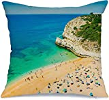 Decoración Throw Pillow Cover Funda de cojín Navy Vilamoura View Praia Portimao Algarve Region Portugal Nature Beach Parks Albufeira Lagos Bay Funda de Cojine 45 X 45CM