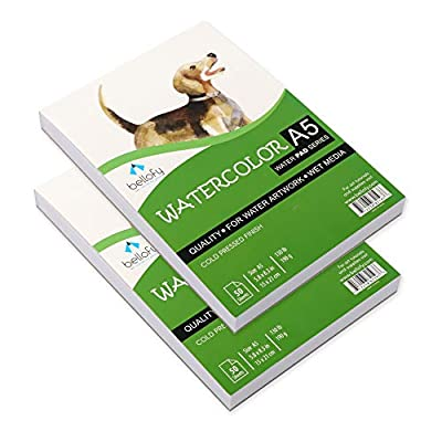 Bellofy 50 Sheet A5 Set of 2 Watercolor Paper Pad - 130 IB/190 GSM Weight - 5.8x8.3 inch - Cold Press Paper - Water Painting Art Notebook Pad - Watercolor Sketchbook - Watercolor Journal